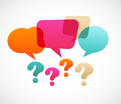 question marks with speech bubbles