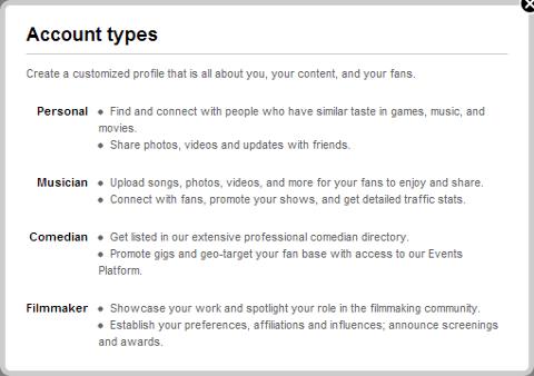 New Myspace Profile Roles