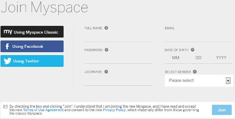 New Myspace Profile Setup