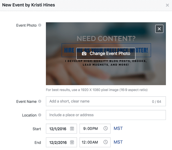 Fill out these details to create a Facebook event.